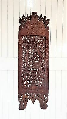 Antique heavily carved eastern screen panel - decorative wall panel