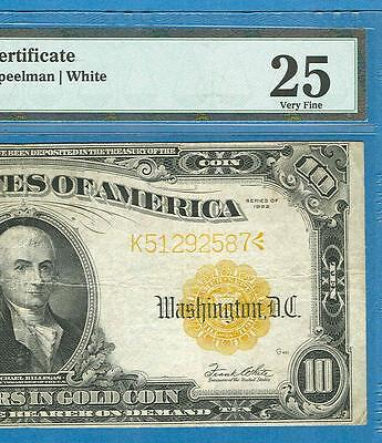 $10. Fr. 1173 1922 Gold Seal Gold Certificate Pmg Certified Vf 25