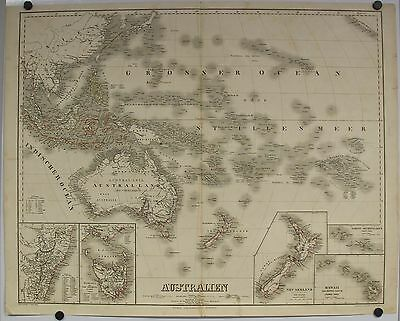 Australia New Zealand Hawaii Pacific Islands 1857 Graf/poppey Large Antique Map