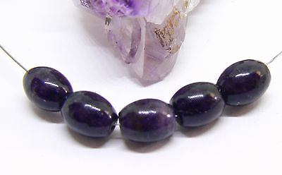5 RARE 100% NATURAL UNTREATED AFRICAN PURPLE SUGILITE EGG BEADS 8.5-9mm 19cts