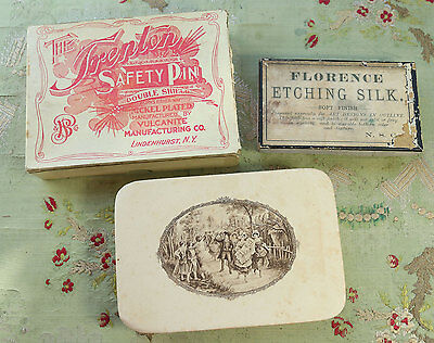 Antique Boxes French Candy Trenton Pin Florence Etching Silk Display Sewing Room