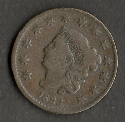 USA Large Size Copper One Cent 1833 NVF