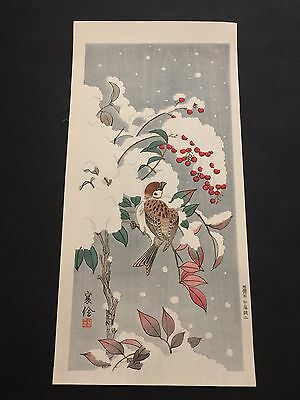 """Jo """"Sparrow in the Snow"""" Japanese woodblock print c.1930s"""
