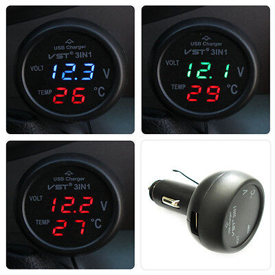 Multifunction Car Digital Voltmeter Thermometer USB Car Charger 3 in1 D HT