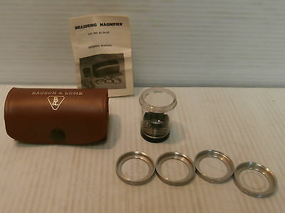 Bausch Lomb Measuring Magnifier w/ 4 scales 7x 81-34-35 Magnifying glass w/Case