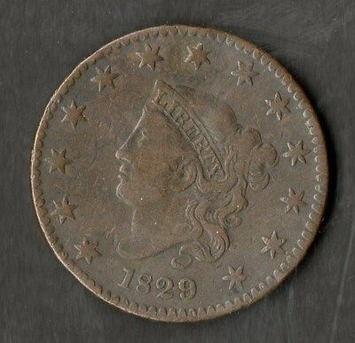 USA Large Size Copper One Cent 1829 Nice VF Large Letters