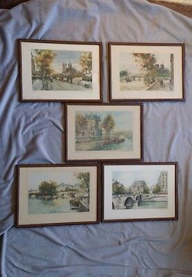 Signed Numbered Lithographs Charles Blondin Paris Street Scenes Set of 5 VGUC