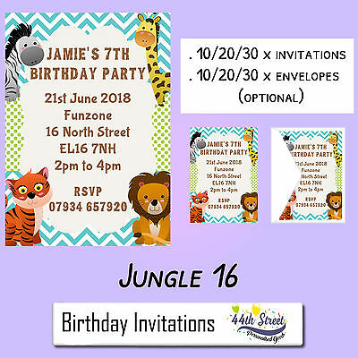 A6 Personalised JUNGLE Safari Animal Party Birthday Invitations Envelopes DE16