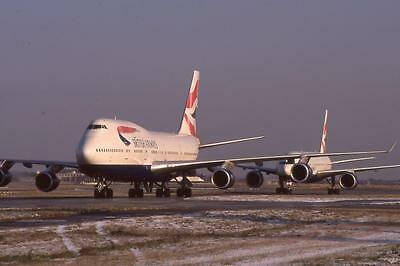 Original 35mm Aircraft Slide British Airways Boeing 747 & Another BA Jet Taxiing