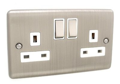 Pack of 5 - Brushed Chrome 2 Gang Double Twin Switched Sockets 13a