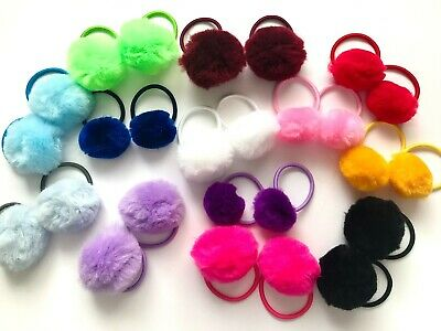 Pompom elastic hair bobbles variety of colours 3for2 mixnmatch