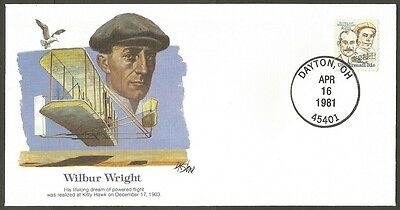 Us 1981 The Pioneers Of Flight Cover #63 Wilbur Wright 31C Air Mail Stamp