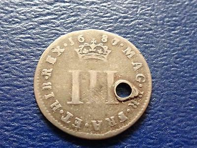 James 11 Silver Maundy Threepence 1687 / 6 Overdate Holed Great Britain Uk