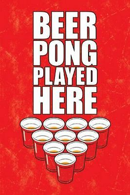 FUNNY COLLEGE DRINKING 11080 BEER PONG WITH GUMBY POSTER 24x36