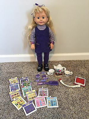 Vintage Playmates 1999 Amazing Ally Talking Interactive Doll With Tea Party Set