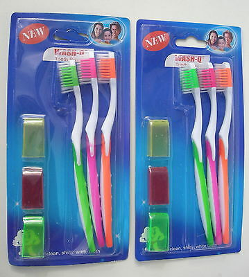 Lot de 6 Brosses à dents Medium Wash-Q