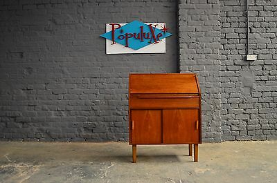 Retro Vintage Mid Century Teak Bureau Writing Desk Scandi Style