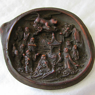 Vintage Wood Netsuke 2 Halves Gourd with Carved Palace Imperial Scenes Inside