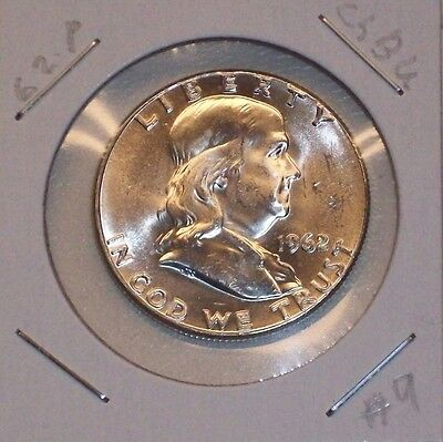 1962-P Franklin Silver Half Dollar! Choice Bu! Blast White Beauty! (#09)