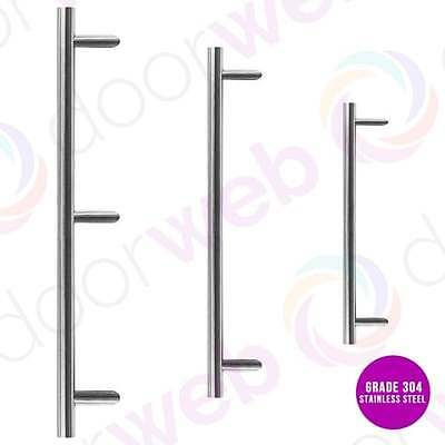 Guardsman LARGE DOOR PULL HANDLE Cranked Offset in SATIN STAINLESS STEEL 32mm