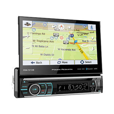 "Power Acoustik PDN-721HB 1 DIN CD/DVD Player 7"" Flip Up GPS Navigation Bluetooth"