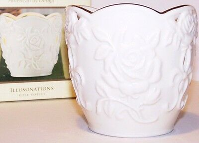 NEW $43 Tag in Box LENOX ILLUMINATIONS ROSE Votive Candle Holder with Gold Trim