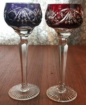 Pair Purple And Ruby Cut To Clear Cordial Stemware Glasses **