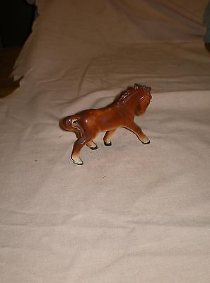 """Vintage Brown  With Cream Tones Horse Figurine 3 1/2"""" Tall  5"""" Long Japan Mark"""