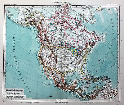 Stieler Antique Colour Map (1909), 40cm x 48cm, North America