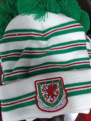 Wales football Spirit of 58 white and green Wales 93 bobble hat
