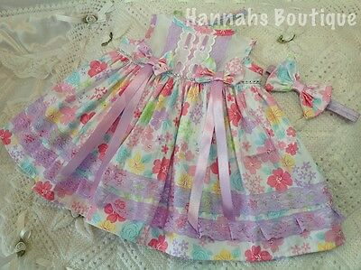Hannahs Boutique 0-3 Month Baby Spanish Dress & Headband Set Or Reborn 20-24""