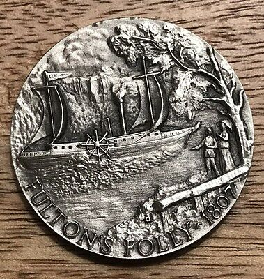 1807. Fulton's Folly. 1+ Oz Longines Sterling Silver Medal Coin.