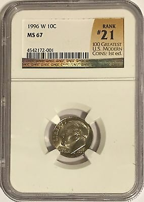 1996 W Roosevelt Dime Ngc Ms67  # 21 Of 100 Greatest Us Modern Coins