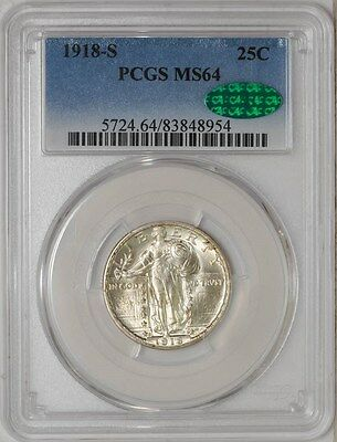 1918-S Standing Liberty Quarter 25c MS64 PCGS ~ CAC
