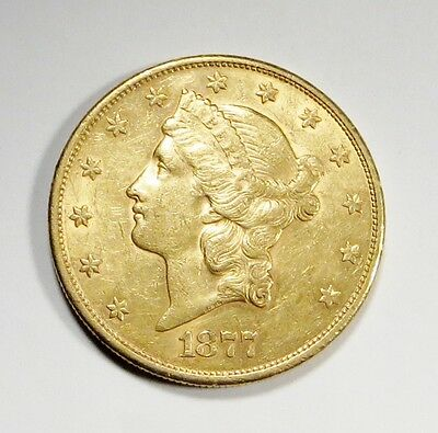 1877-S  LIBERTY HEAD $20 DOUBLE EAGLE Gold Coin