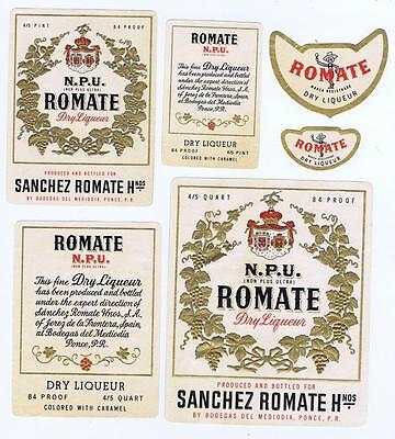 NPU Sanches Romate dry liqueur Mediodia Ponce P.R. antique bottle label (6) #127