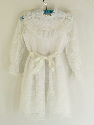 Vintage MERRY GIRL White Lace Party Dress USA Union Made Size 12 Satin Ribbon