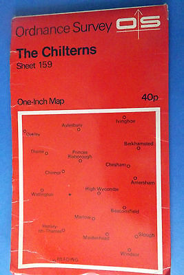 1968 O.S. opne inch Map 159 The Chilterns paper Ordnance Survey