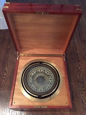 Antique gimbled compass with wood box