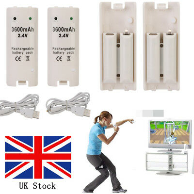UK 2 X 3600mah White Rechargeable Battery pack for Wii Remote Controller