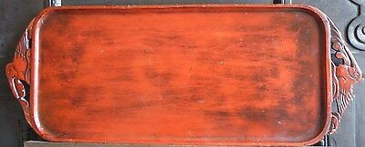 Antique Chinese red cinnabar lacquer tray with carved birds  handles