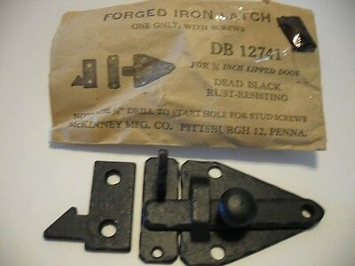 "Vintage NOS BLACK Forged Iron Steel BAR LATCH Cabinet Door 3/8"" Offset  McKINNEY"