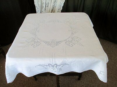 "ANTIQUE TABLECLOTH- HAND EMBROIDERED FILET NET LACE - 40""sq."