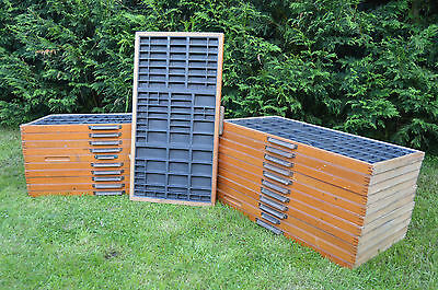 22 x Vintage 1970s Printers Compositors Trays Letterpress Type Case Drawers