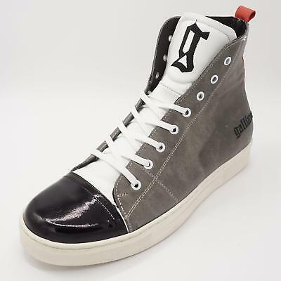 Galliano Herren Designer Luxus High Top Sneaker Gr. 45 Grau Halbschuhe 2. Wahl
