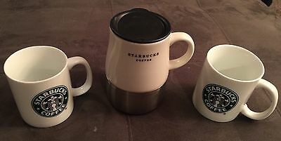 Starbucks Coffee Lot of 2 8oz Ceramic Coffee Mugs and 1 Travel Mug