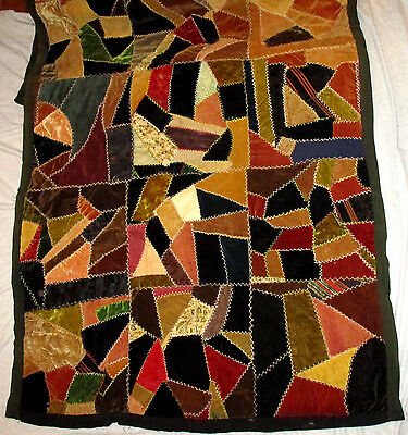 """Antique Hand Sewn CRAZY QUILT Velvet & Cotton With Multi Fabric Backing 35x68"""""""