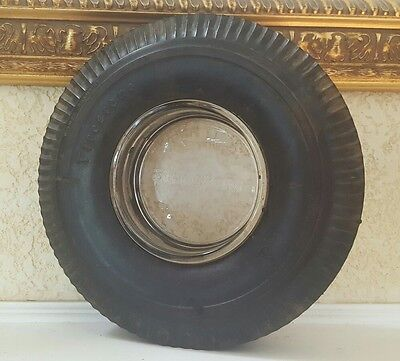 Vintage FIRESTONE DELUXE CHAMPION TIRE & Glass ASHTRAY Man Cave Shop Garage
