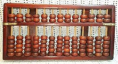 Rare Antique Chinese Carved Rosewood Abacus 13 Rods 91 Beads (Lotus?) China