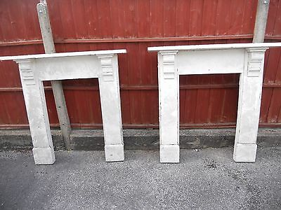 Pair antique old wooden fireplace fire surrounds matching